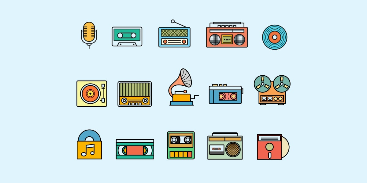 Various Music Icons - Play Media