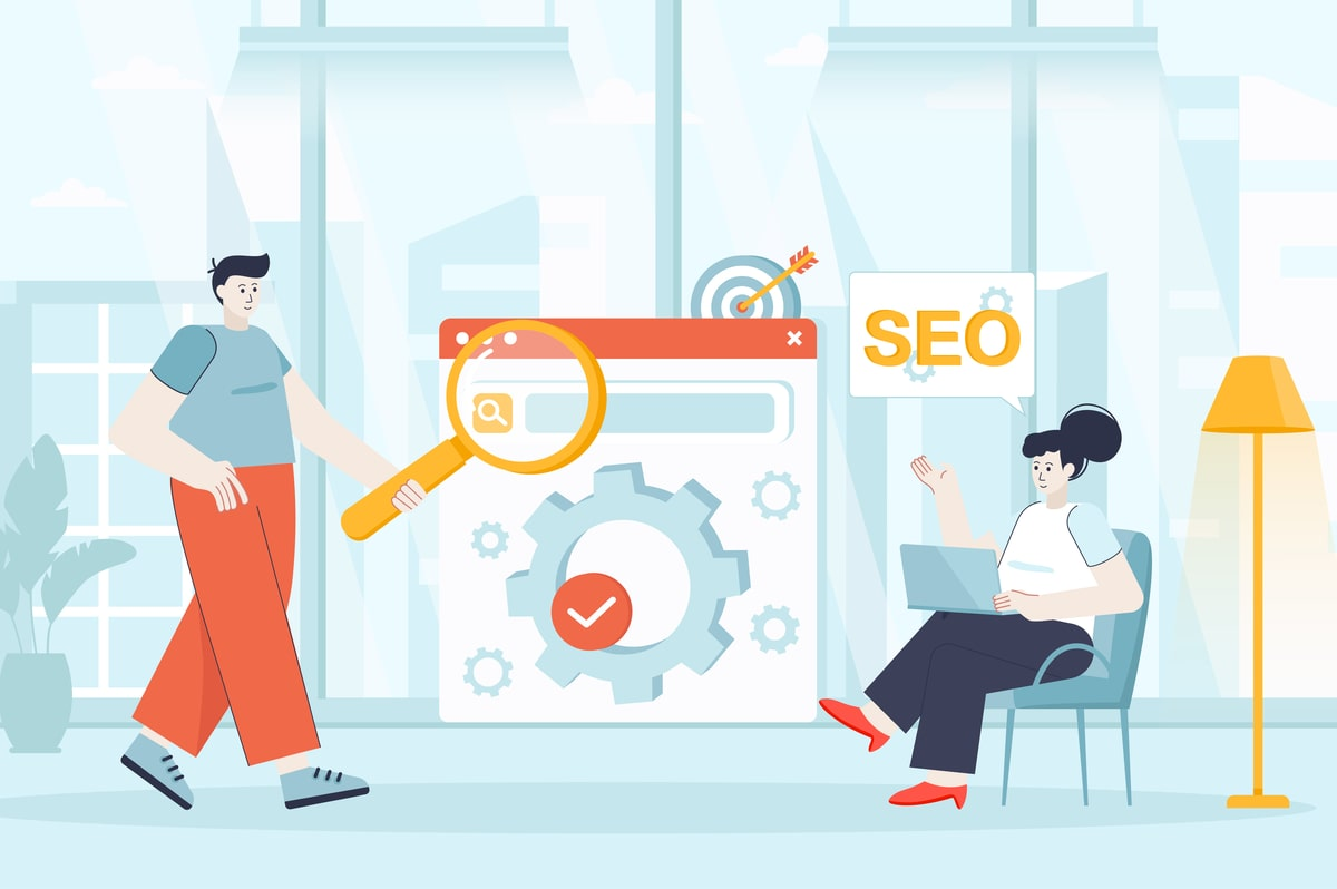 Man and Women implementing Featured Snippets for SEO.